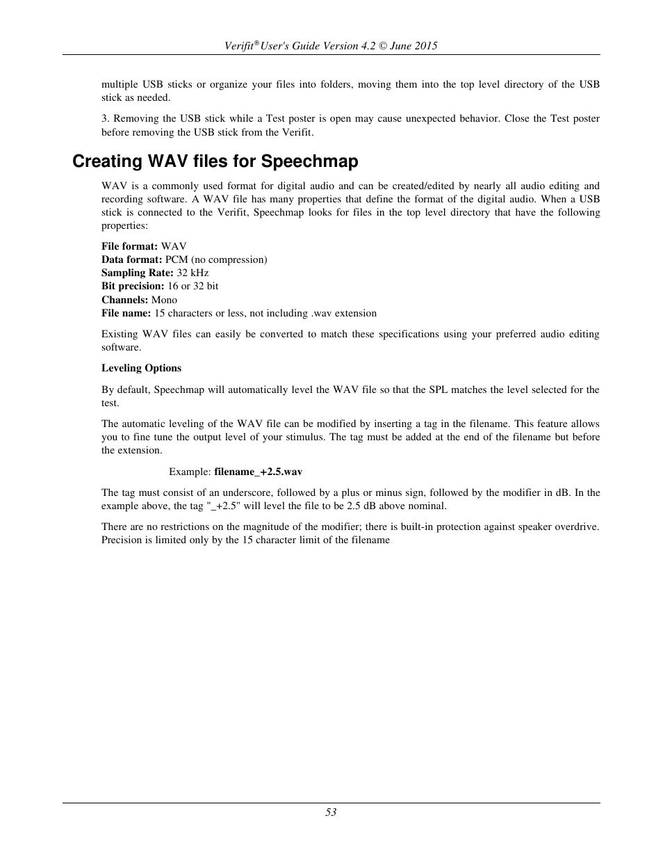 Creating wav files for speechmap | Audioscan Verifit 2 User