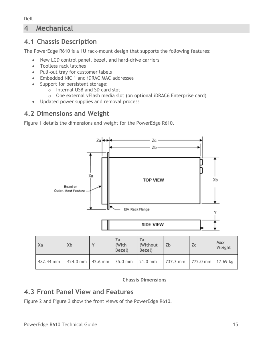 Mechanical, Chassis description, Dimensions and weight