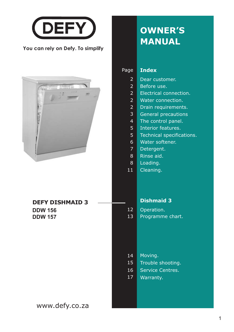 Defy Appliances DDW 157 User Manual | 18 pages | Also for ...