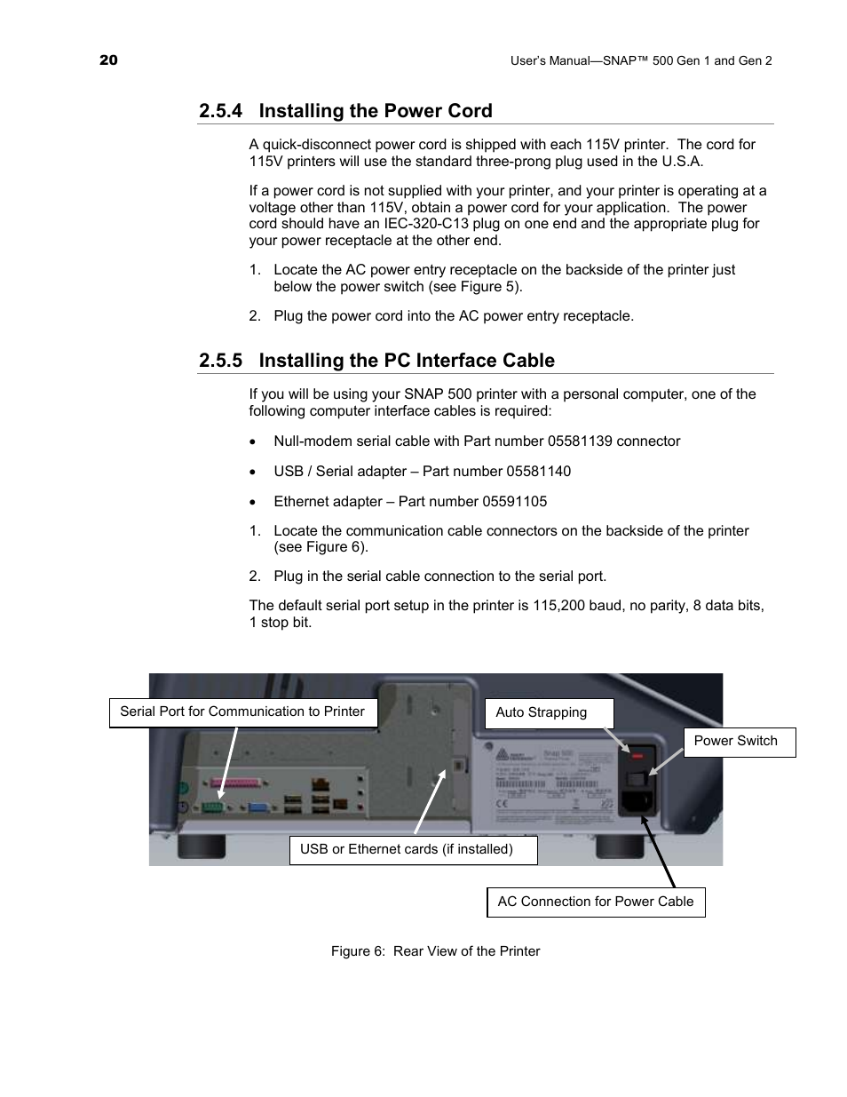 4 Installing The Power Cord 5 Pc Interface Cable Serial Wiring Avery Dennison Snap 500 User Manual Page 20 136