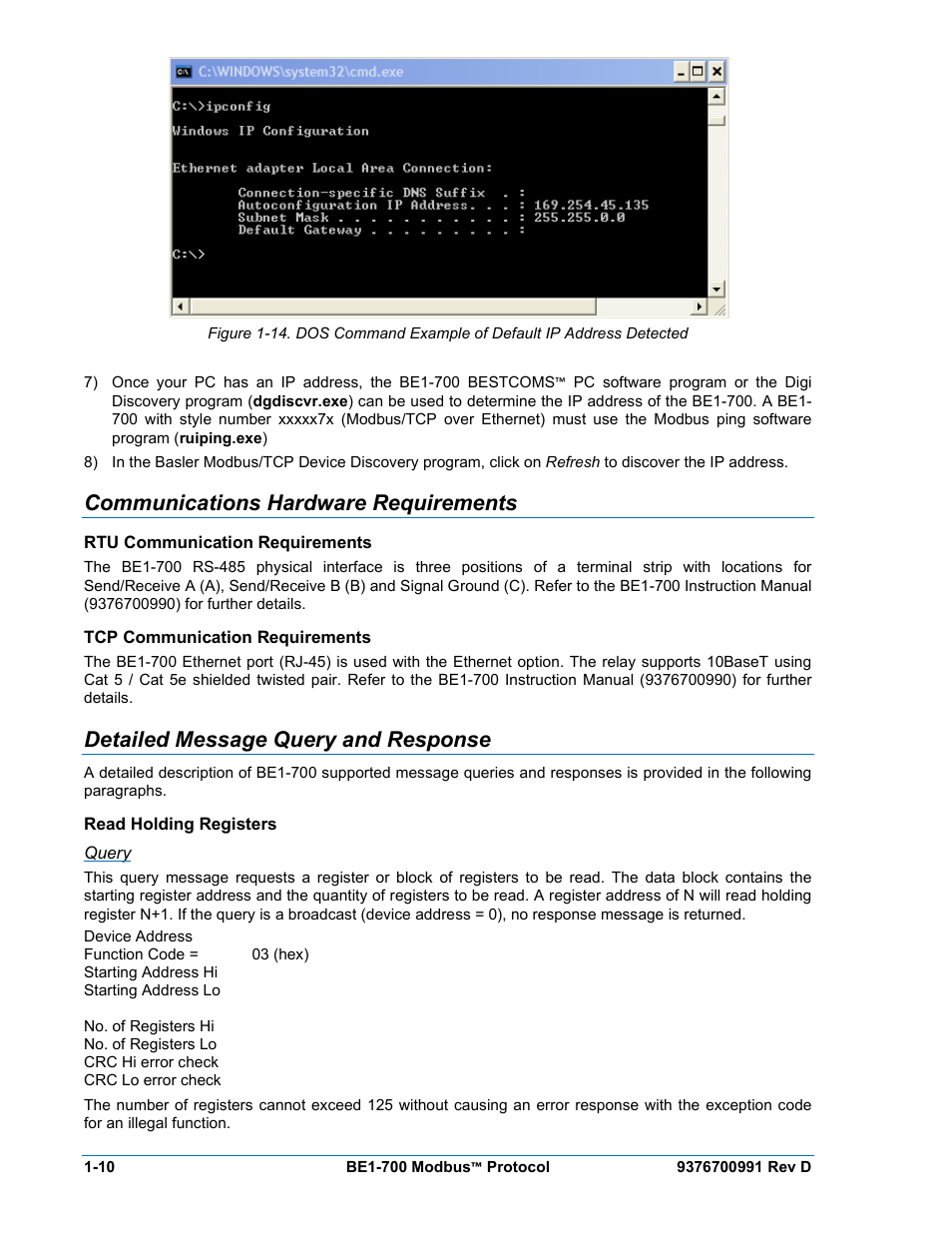 Communications hardware requirements, Rtu communication