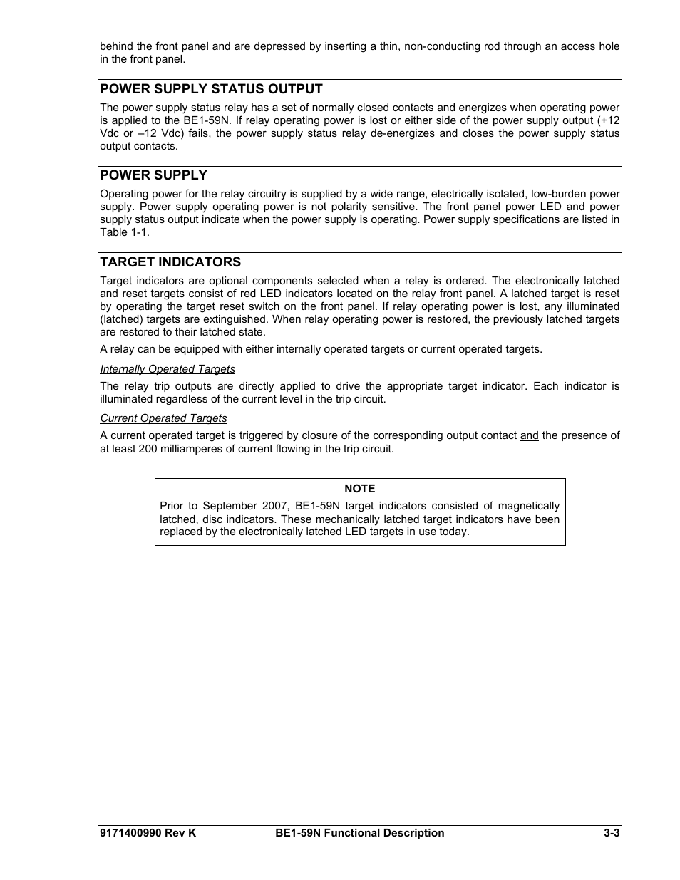 Power Supply Status Output Target Indicators Basler Relay Latching Electric Be1 59n User Manual Page 21 40