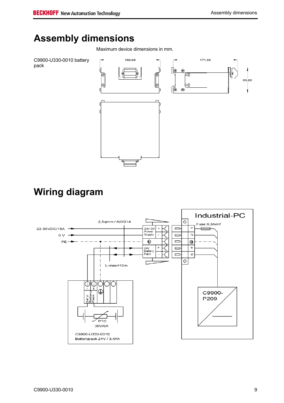 Assembly Dimensions Wiring Diagram Beckhoff C9900 U330 0010 User Manual Page 11 12