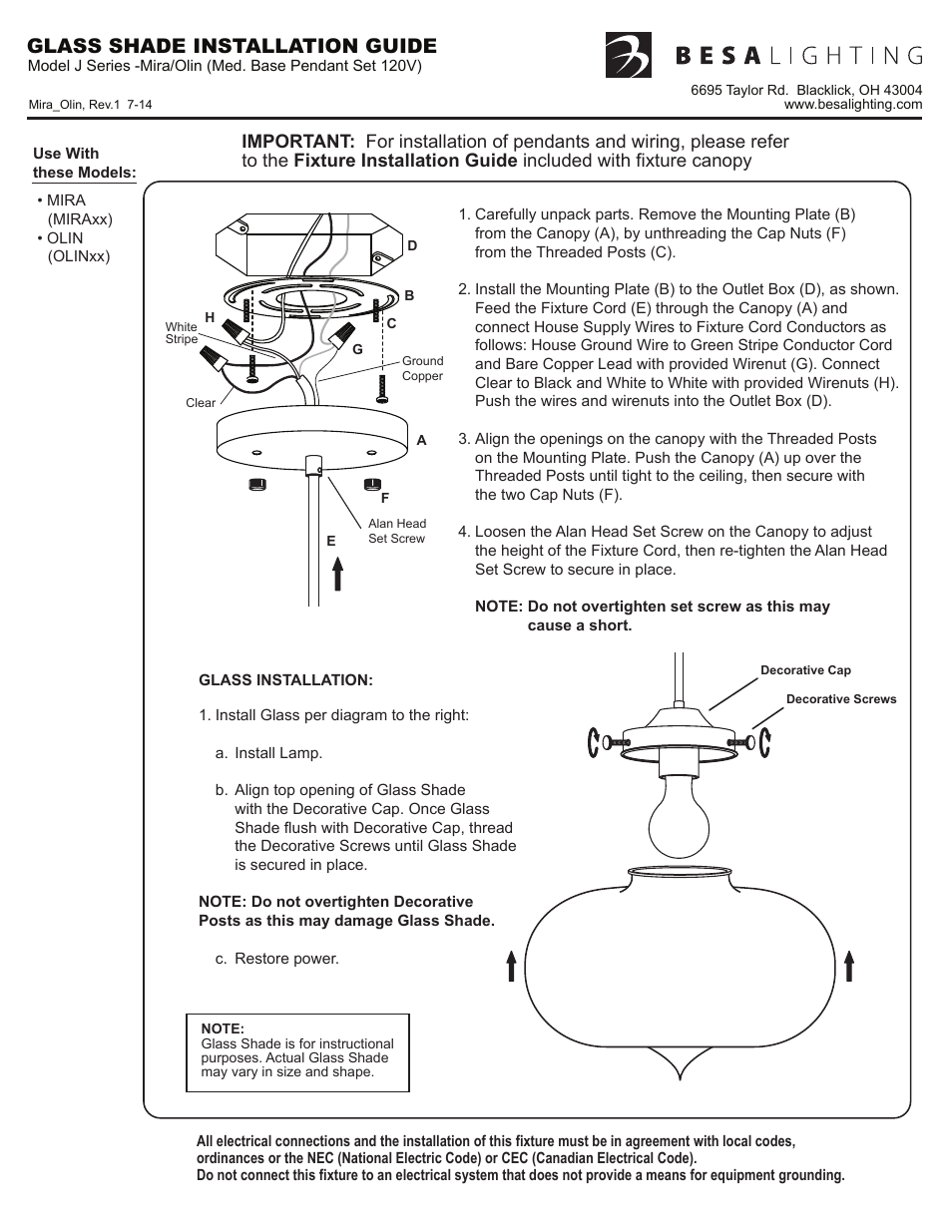 Besa Lighting Mira 120v Pendants User Manual 1 Page Also For Recently Removed The Wire Nuts On Two Lights Controlled By Olin Bana