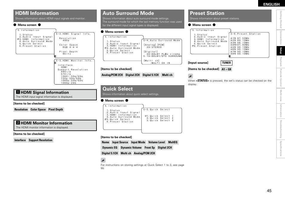 hdmi information auto surround mode preset station denon avr rh manualsdir com denon avr 2308ci manual pdf denon avr 2309 manual