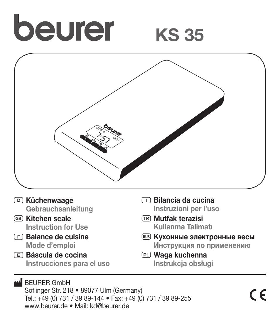 Beurer Ks 35 User Manual 16 Pages