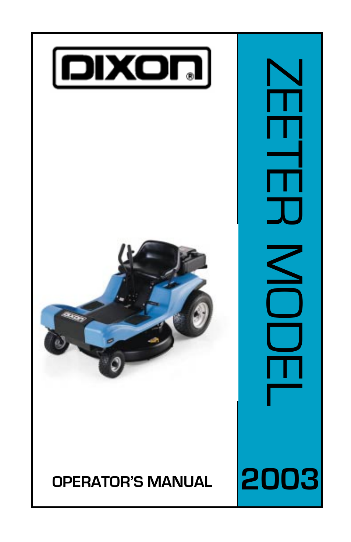 Dixon 30 Ztr Schematic Car Fuse Box Wiring Diagram Speedztr User Manual 48 Pages Rh Manualsdir Com Cone Drive Adjustment Color