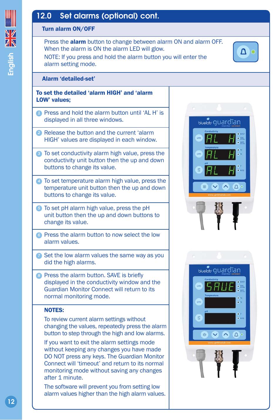 0 set alarms optional cont english bluelab guardian monitor rh manualsdir com guardian car alarm manual guardian smoke alarm manual