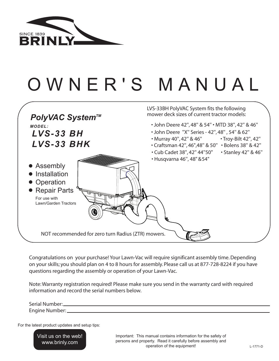 Brinly LVS-33 BH PolyVAC System User Manual | 32 pages | Also for