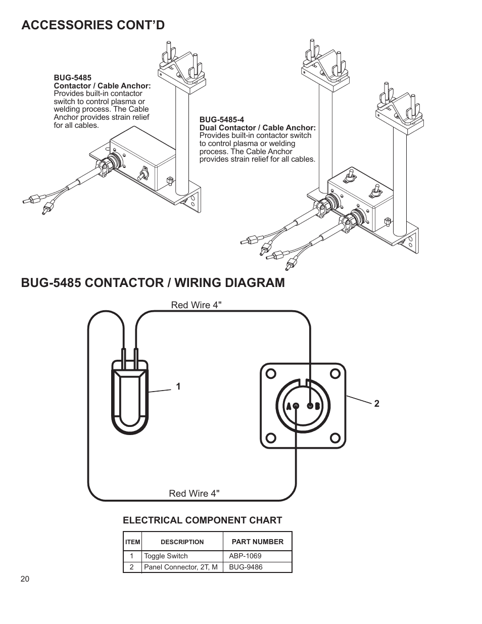 Accessories Contd Bug 5485 Contactor Wiring Diagram O Of Welding Process Systems Go Fer Iii Ox User Manual Page 20 22