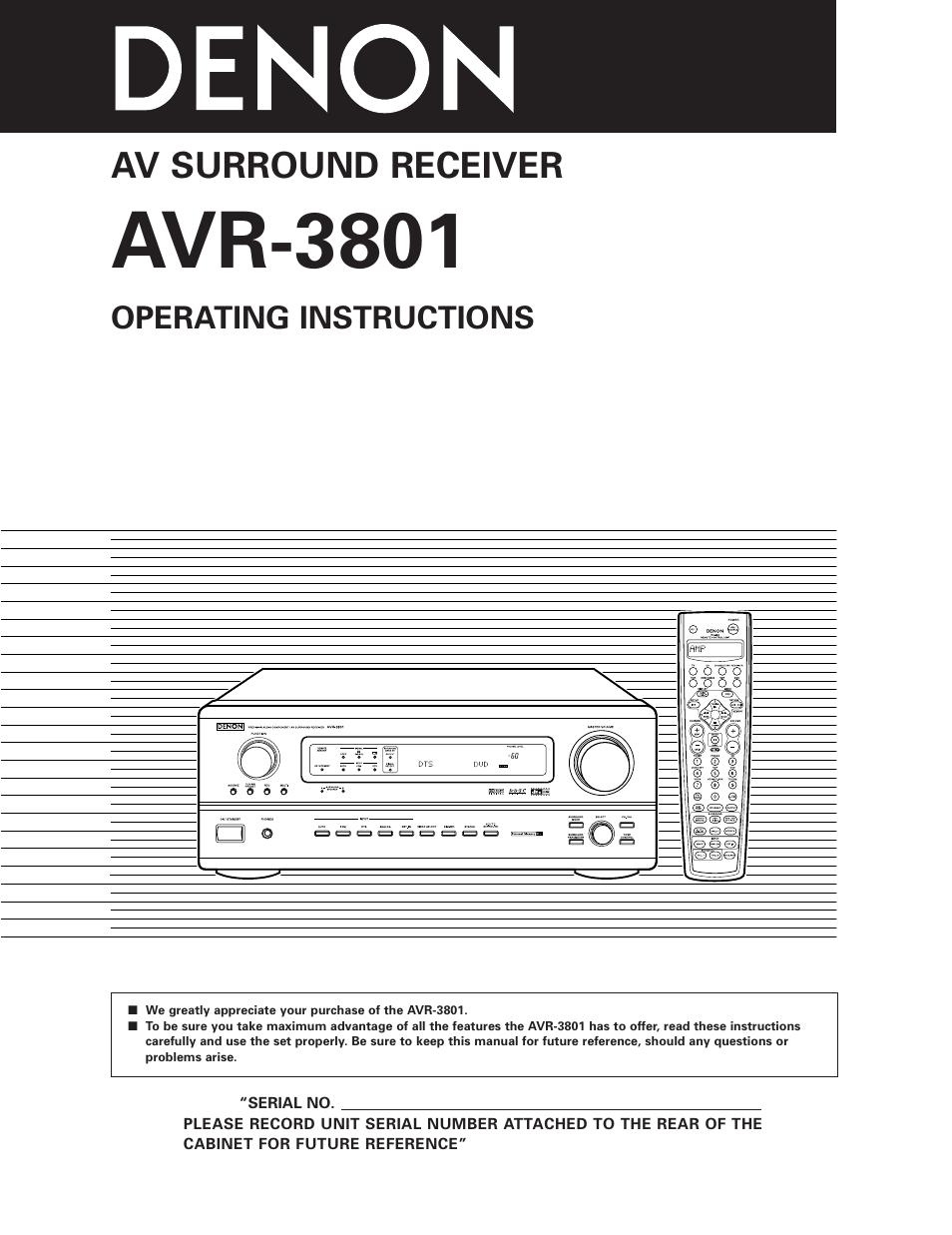 denon avr 3801 user manual 72 pages rh manualsdir com denon avr-3300 instruction manual denon rcd-m39dab instruction manual