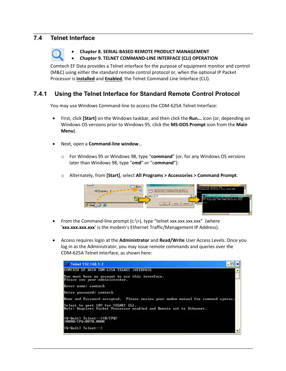 4 telnet interface | Comtech EF Data CDM-625A User Manual