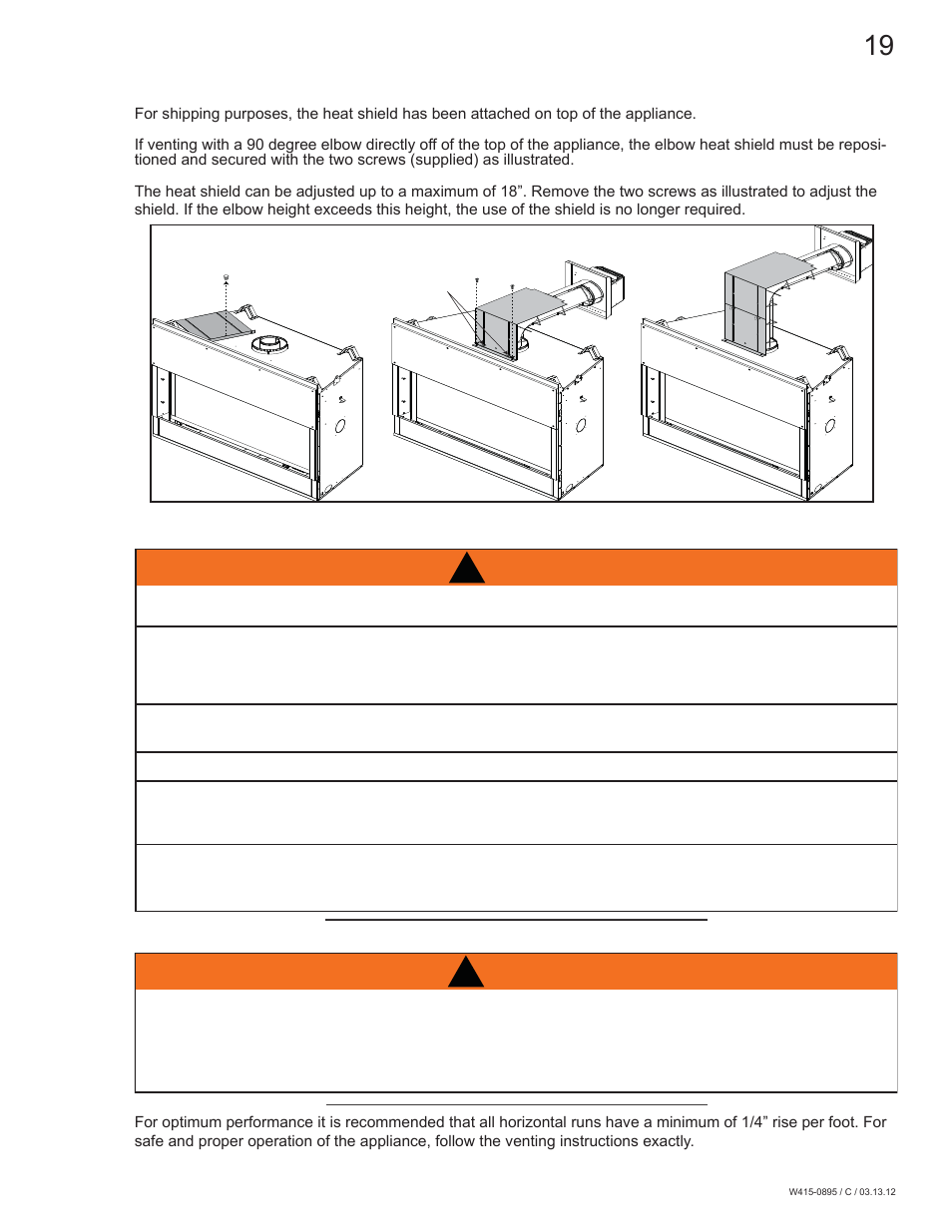 Warning, 0 installation | Continental Fireplaces CLHD45 User Manual
