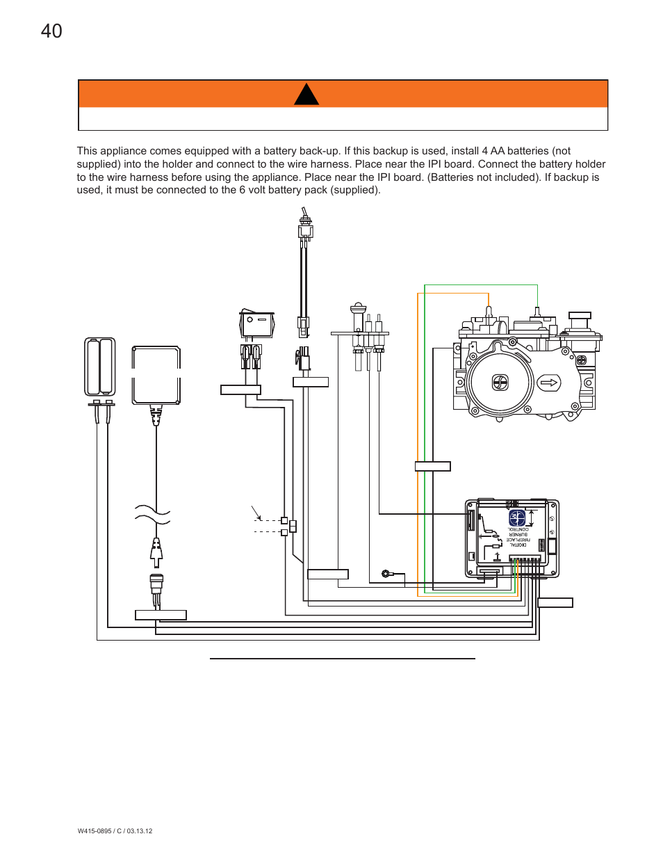 Warning, 3 wiring diagram | Continental Fireplaces CLHD45 ...