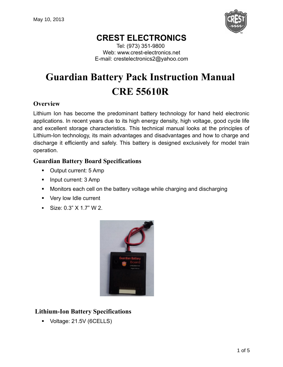 Crest Electronics Cre55610r Guardian Battery Charger User Manual 6 Lithiumion One Schematic Pages