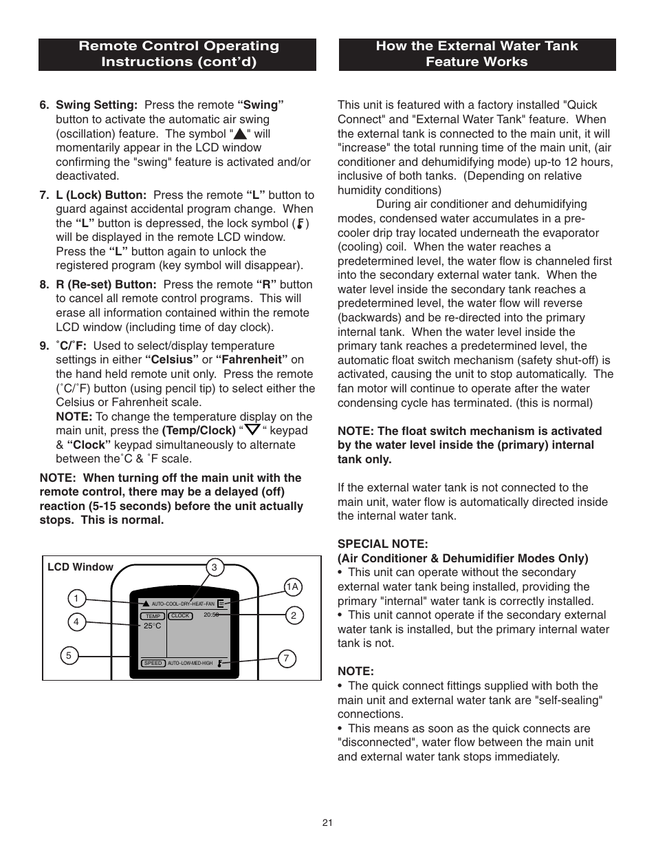 Remote control operating instructions (cont'd), How the
