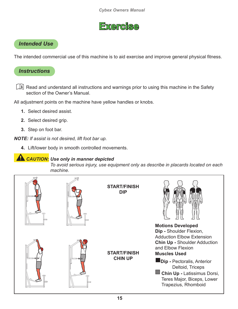 Exercise, Intended use, Instructions | Cybex 17151 Jungle Gym Dip Chin  Tower User Manual | Page 15 / 28