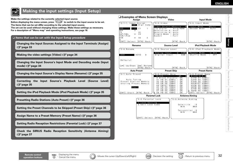 Making the input settings (input setup), English   Denon AVR-1910