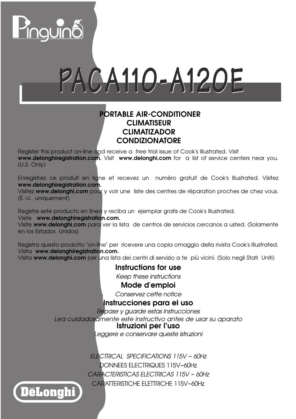 DeLonghi PACA110-A120E User Manual | 18 pages