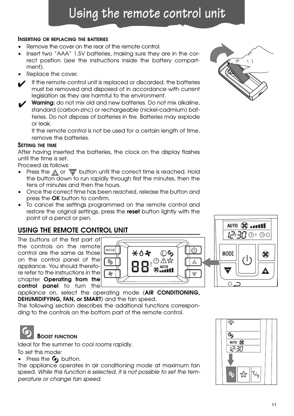 Using the remote control unit | DeLonghi PACA110-A120E User Manual | Page  11 /