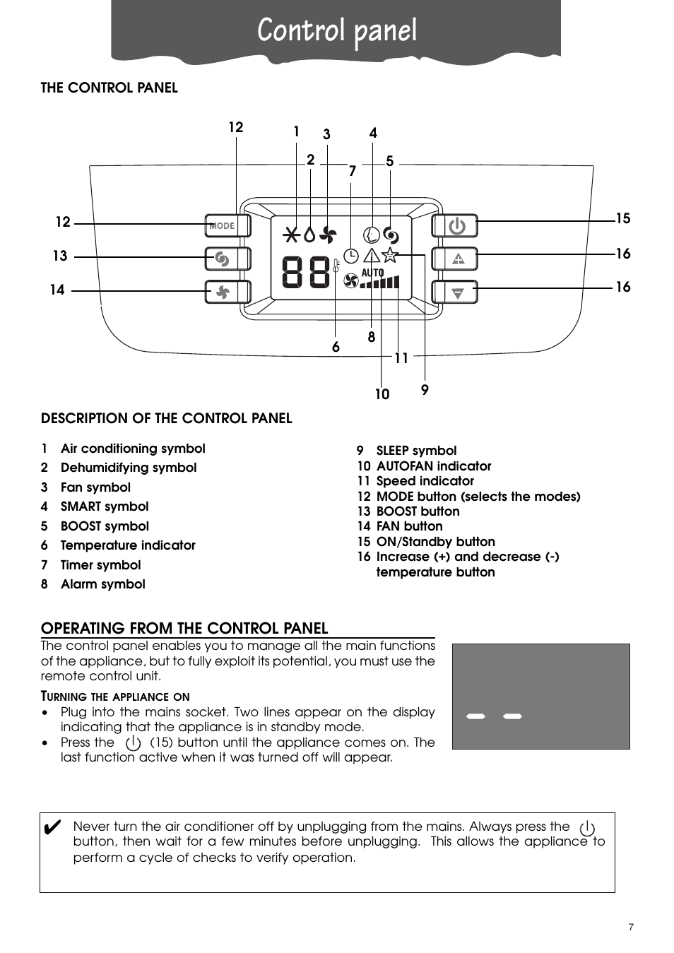 Control panel | DeLonghi PACA110-A120E User Manual | Page 7 / 18