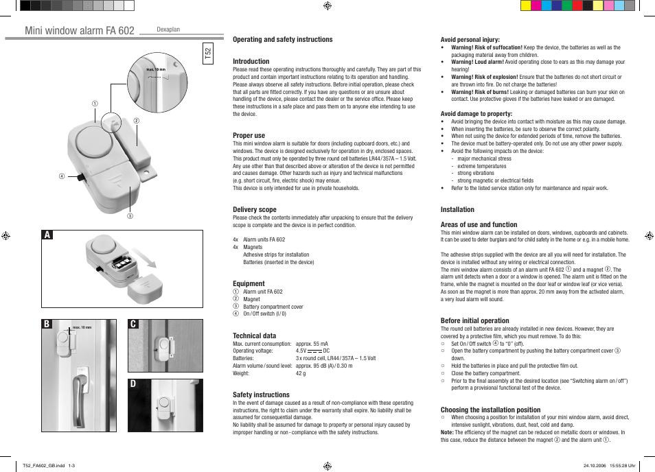 Dexaplan FA 602 User Manual | 2 pages