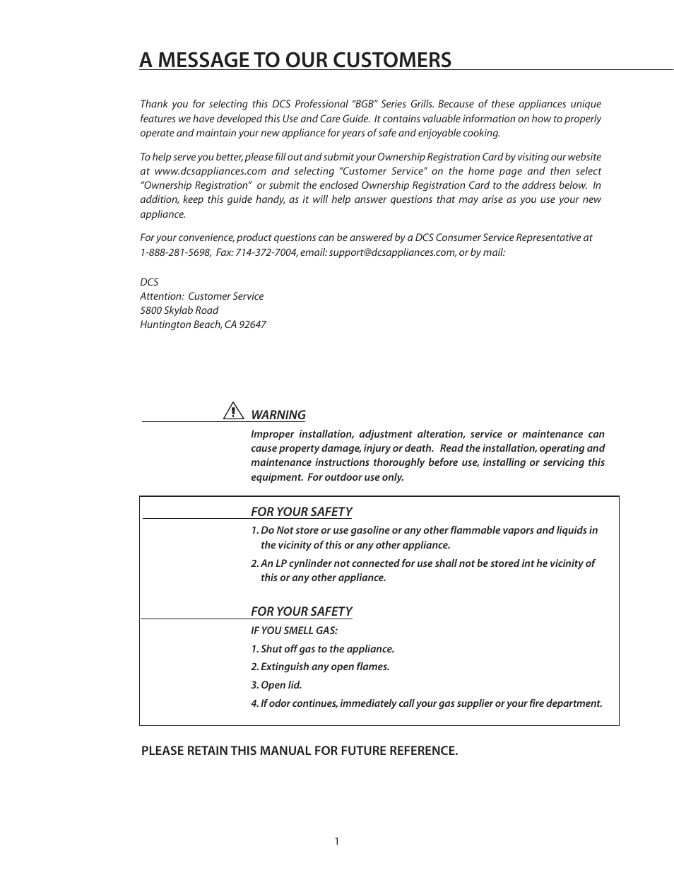 A message to our customers | DCS BGB30-BQR User Manual | Page 2 /