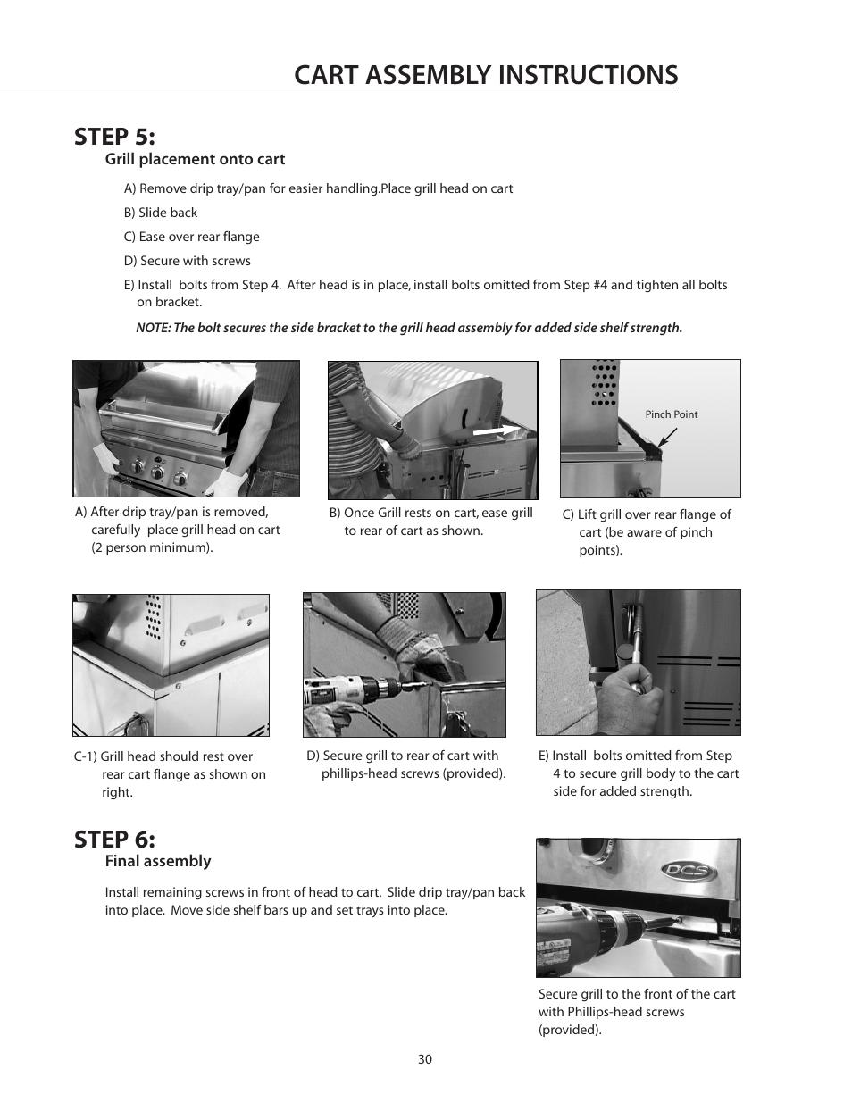 Cart assembly instructions, Step 5, Step 6   DCS BGB30-BQR User