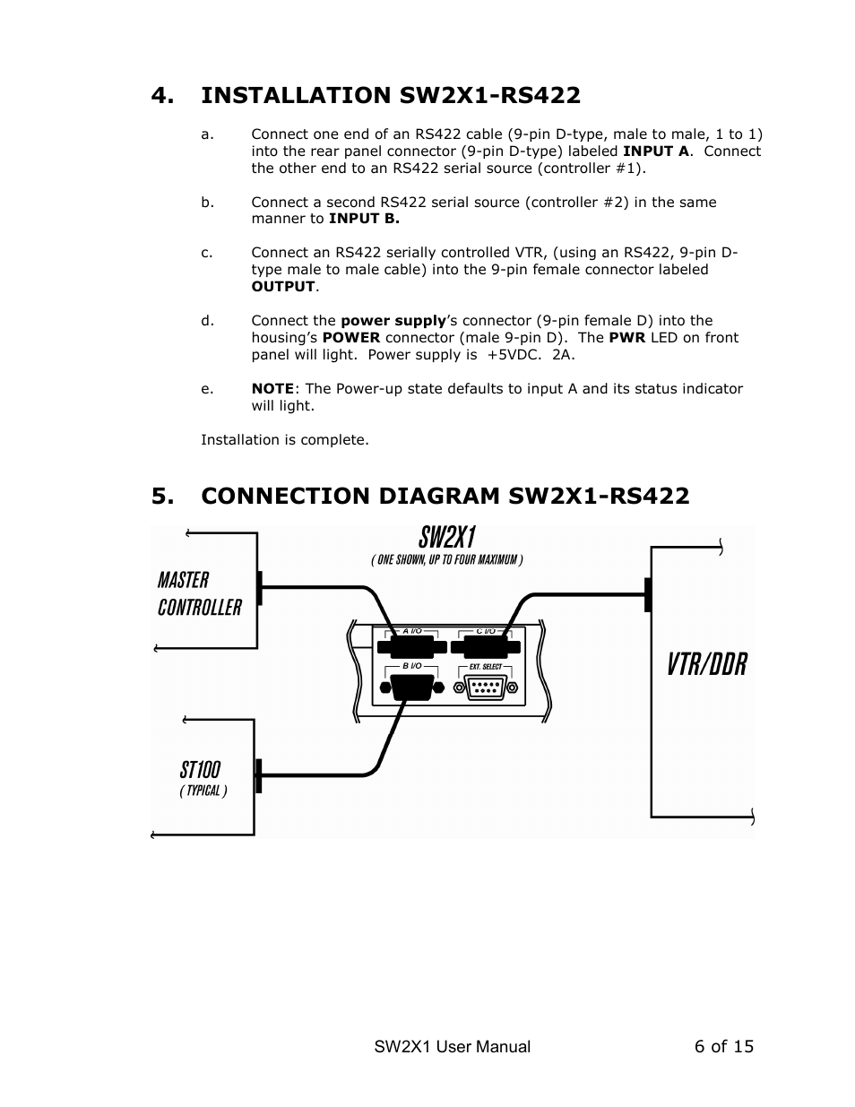 Dnf Controls Sw2x1 User Manual Page 6 14 Rs 422 Wiring Diagram