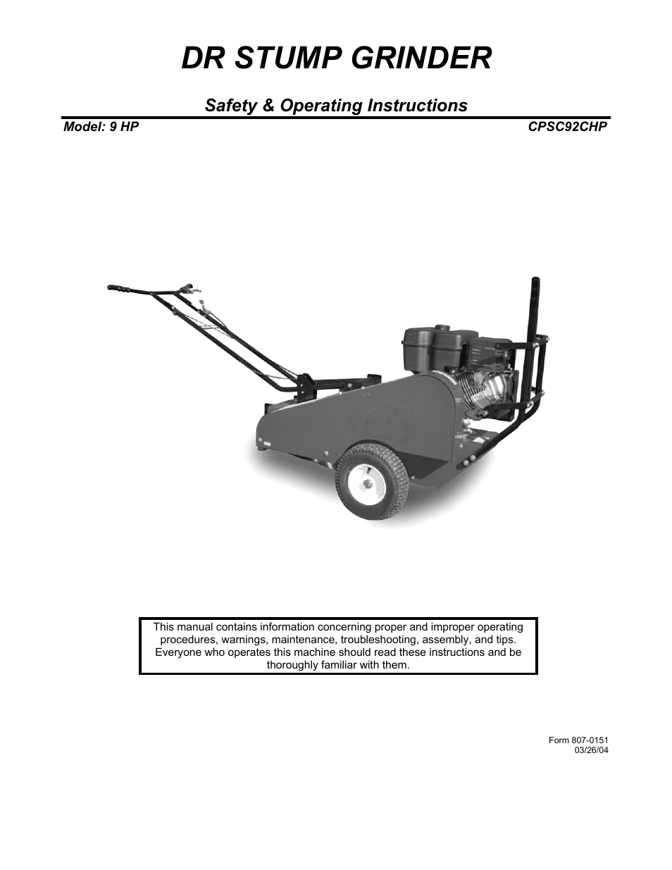 Dr Power 9 Hp March 2004 March 2010 User Manual 20 Pages