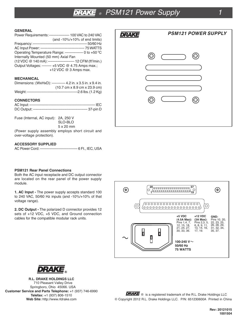 Drake PSM121 User Manual   2 pages