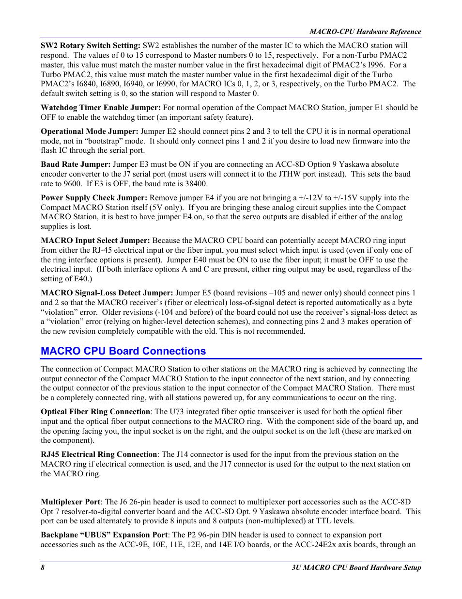 Macro Cpu Board Connections Delta Tau Macro Cpu Board 4ax 602804 Xhxx User