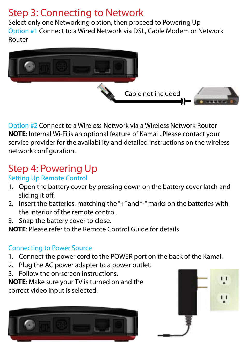 Step 3 Connecting To Network 4 Powering Up Entone Kamai The Wireless Remote Control Equipment Has Two Modes Latched 500 Quick Start User Manual Page 8