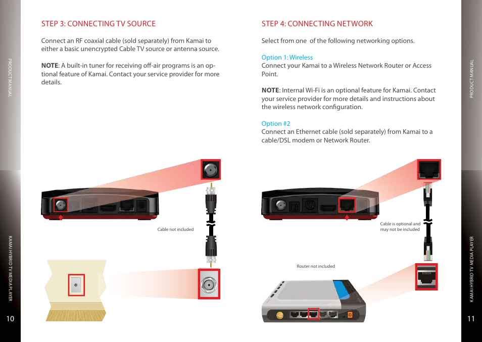 Connecting tv source, Cable or antenna, Connecting network | Entone ...
