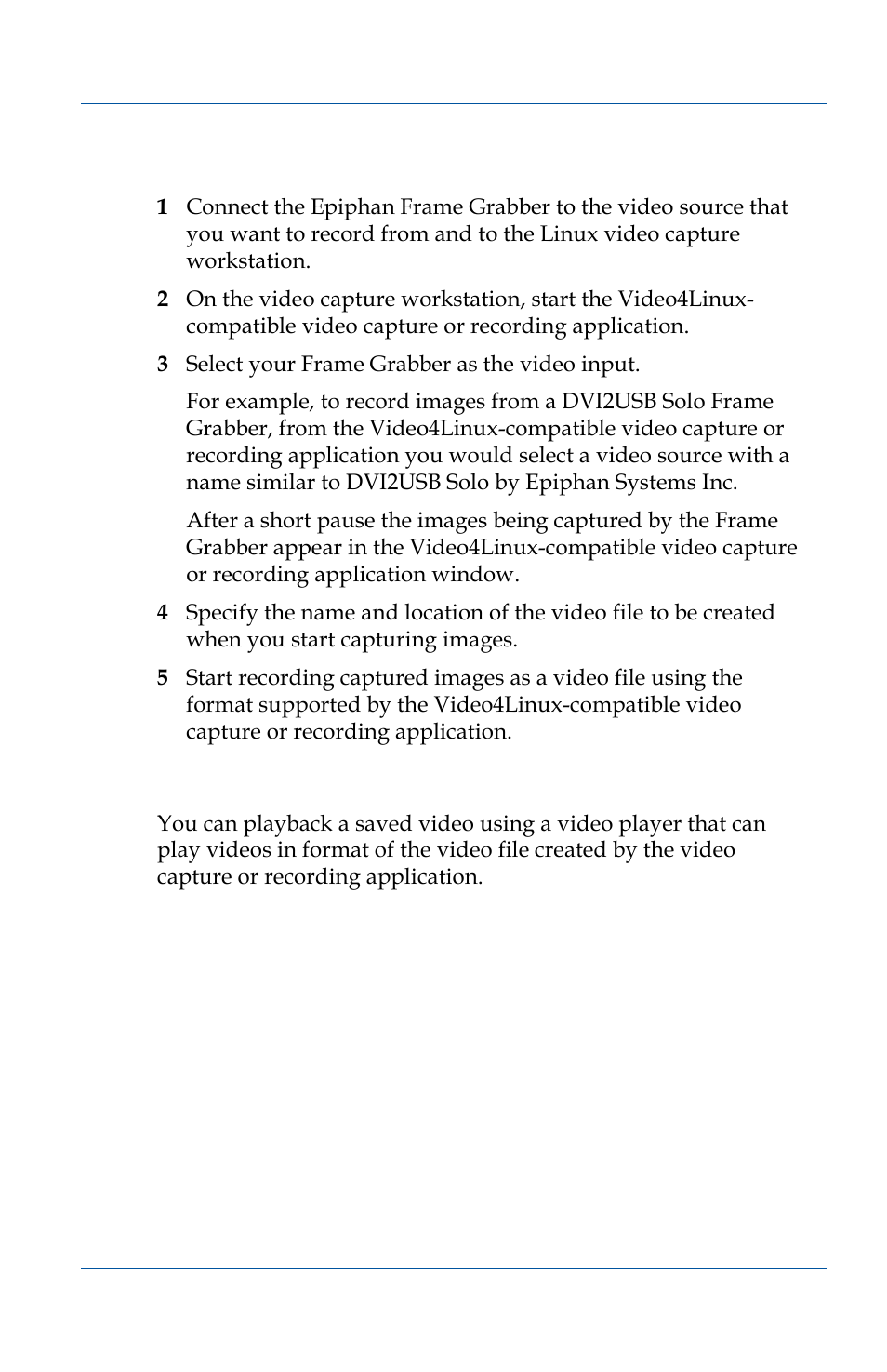 Playing back a video file (linux) | Epiphan VGA2USB Pro User Manual