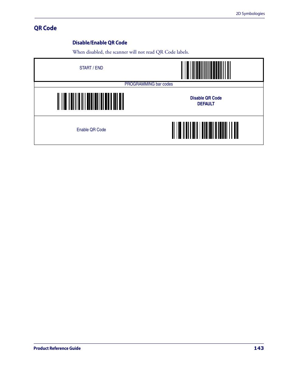 Qr code, Disable/enable qr code | Datalogic Scanning MAGELLAN 3200VSI User  Manual | Page 151 / 200