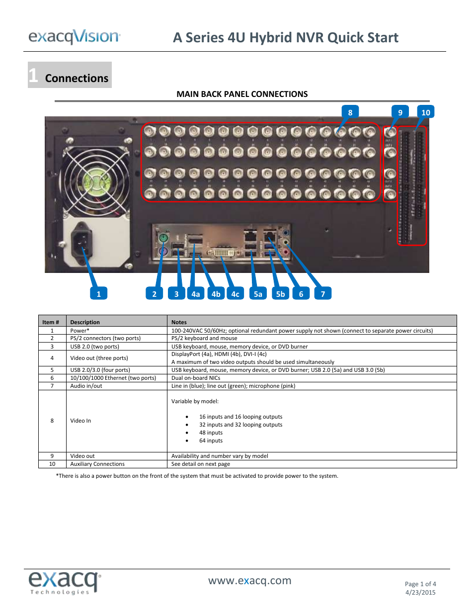 Exacq A Series 4U Hybrid NVR Quick Start Guide User Manual | 4 pages | Also  for: ELP/ELPR Quick Start Guide, Z Series 3U NVR Quick Start Guide, ...