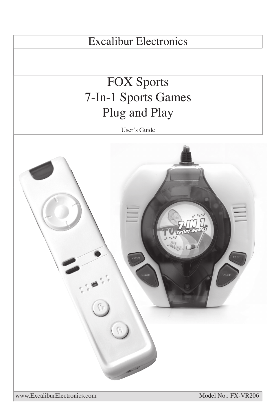 excalibur fx vr206 fox sports 7 in 1 plug play user manual 8 pages rh manualsdir com Excalibur Automatic Bingo Calling Excalibur Touch Chess Game 2