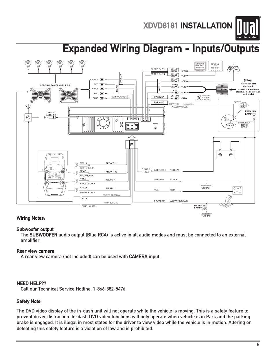 Dual Car Radio Wiring Diagram : Dual xd wiring harness car stereo
