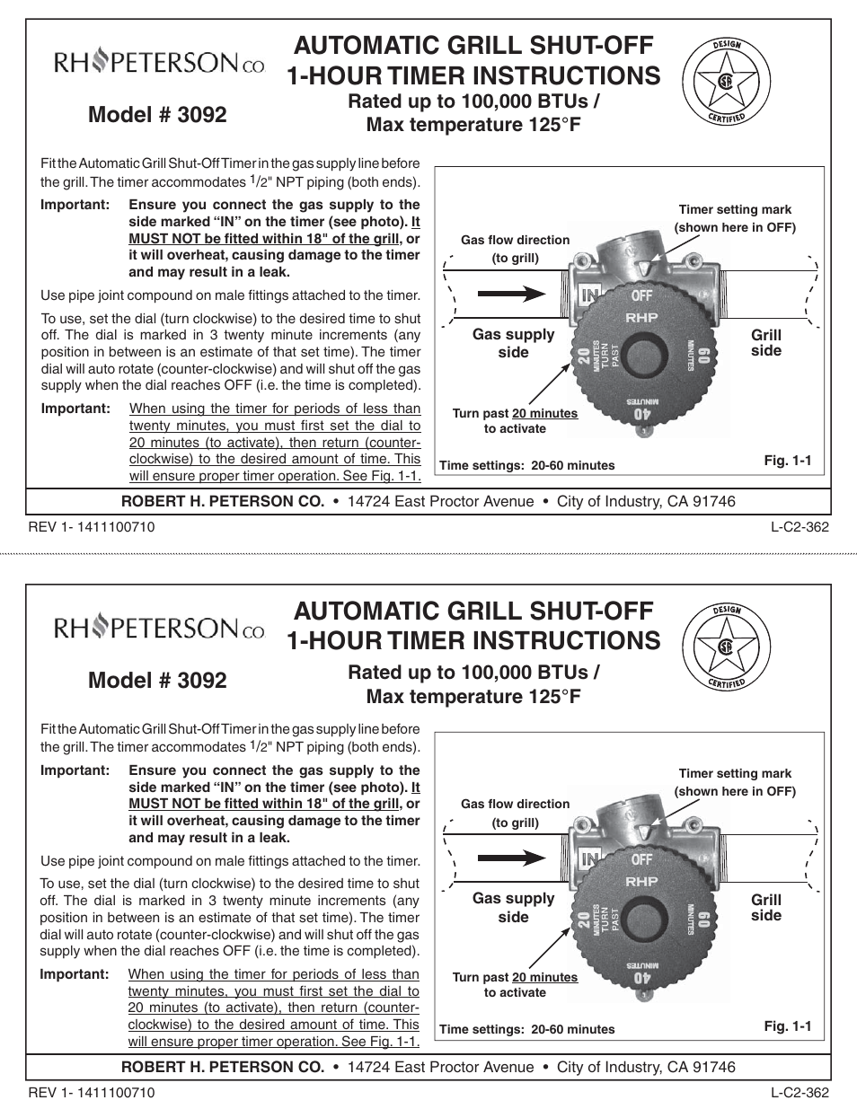 Fire Magic 3092 Auto Shut-off 1-Hour Timer User Manual | 1 page