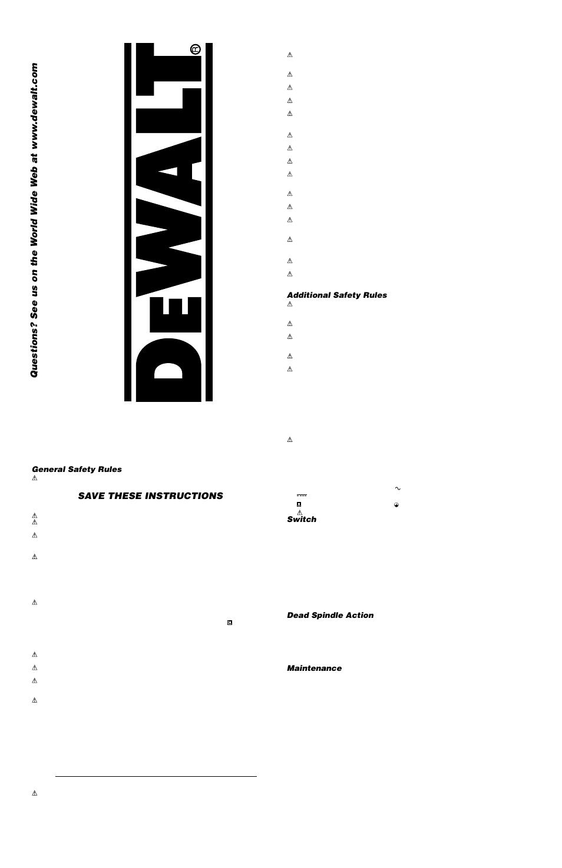 DeWalt DW275QD User Manual | 4 pages | Also for: DWDW275QD, DW276QD,  DW277QD, 616974-00