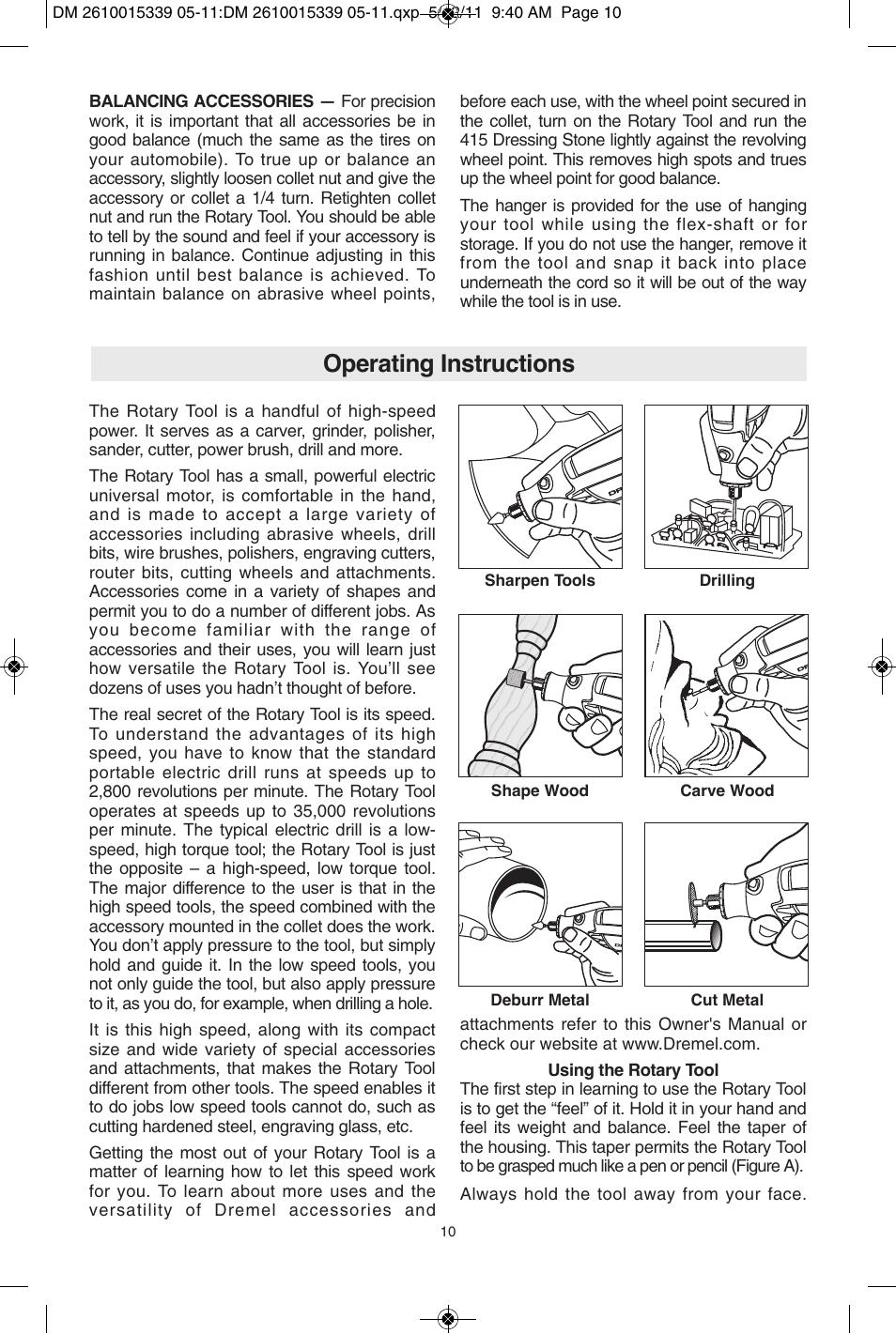 operating instructions dremel 3000 user manual page 10 68 rh manualsdir com Dremel 4000 Rotary Tool Dremel 4000 Rotary Tool