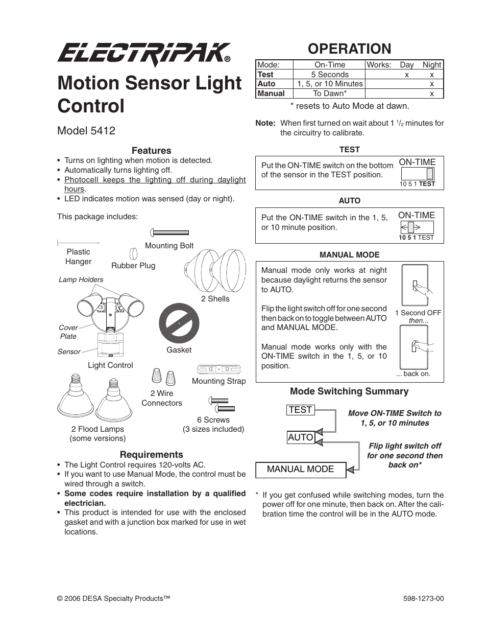 Desa Motion Sensor Light Control 5412 User Manual 8 Pages Dawn Wiring Diagram Further
