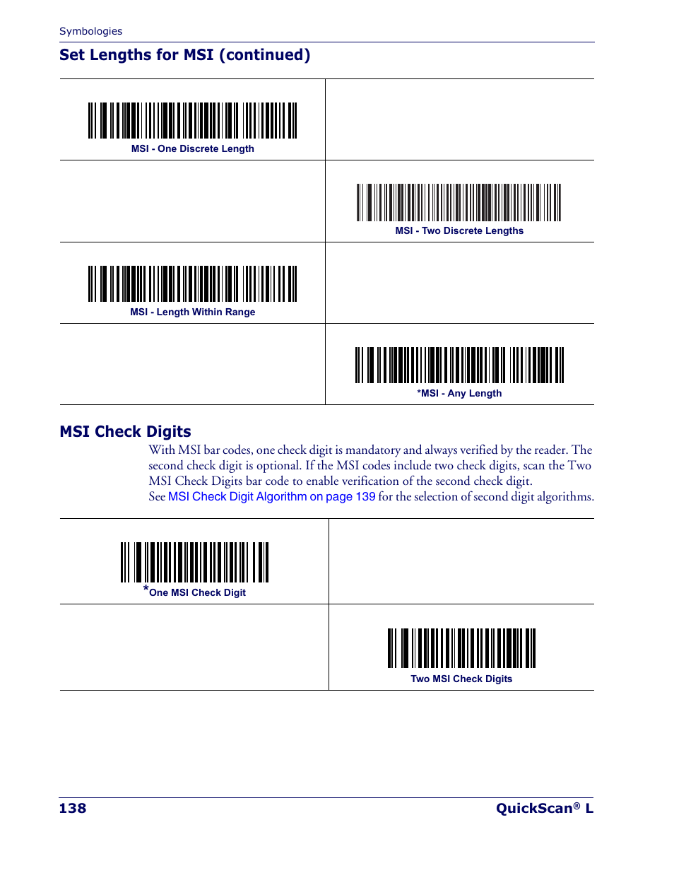 Set lengths for msi (continued) msi check digits | Datalogic Scanning  QUICKSCAN QD 2300