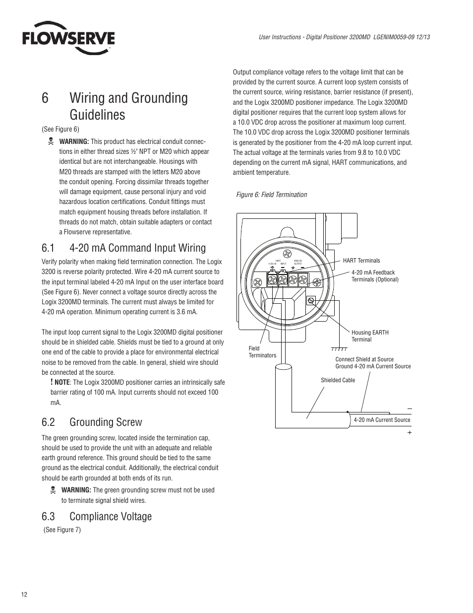 6wiring And Grounding Guidelines 1 4 20 Ma Command Input Wiring 2 Flowserve Diagram Screw 3200md User Manual Page 12 40