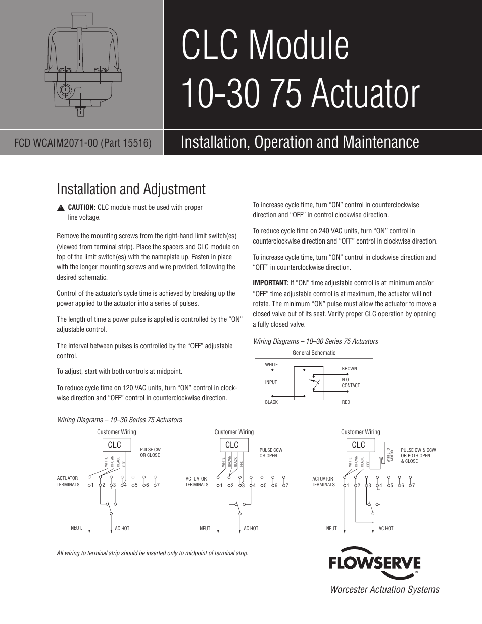 Flowserve Clc Module 10 30 75 Actuator User Manual 2 Pages Wiring Diagram