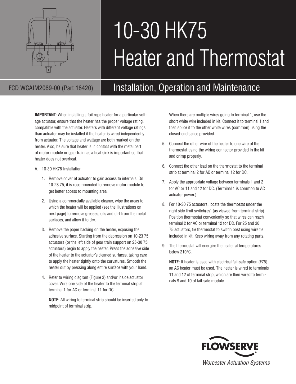 Flowserve 10-30 HK75 Heater and Thermostat User Manual | 2 pages