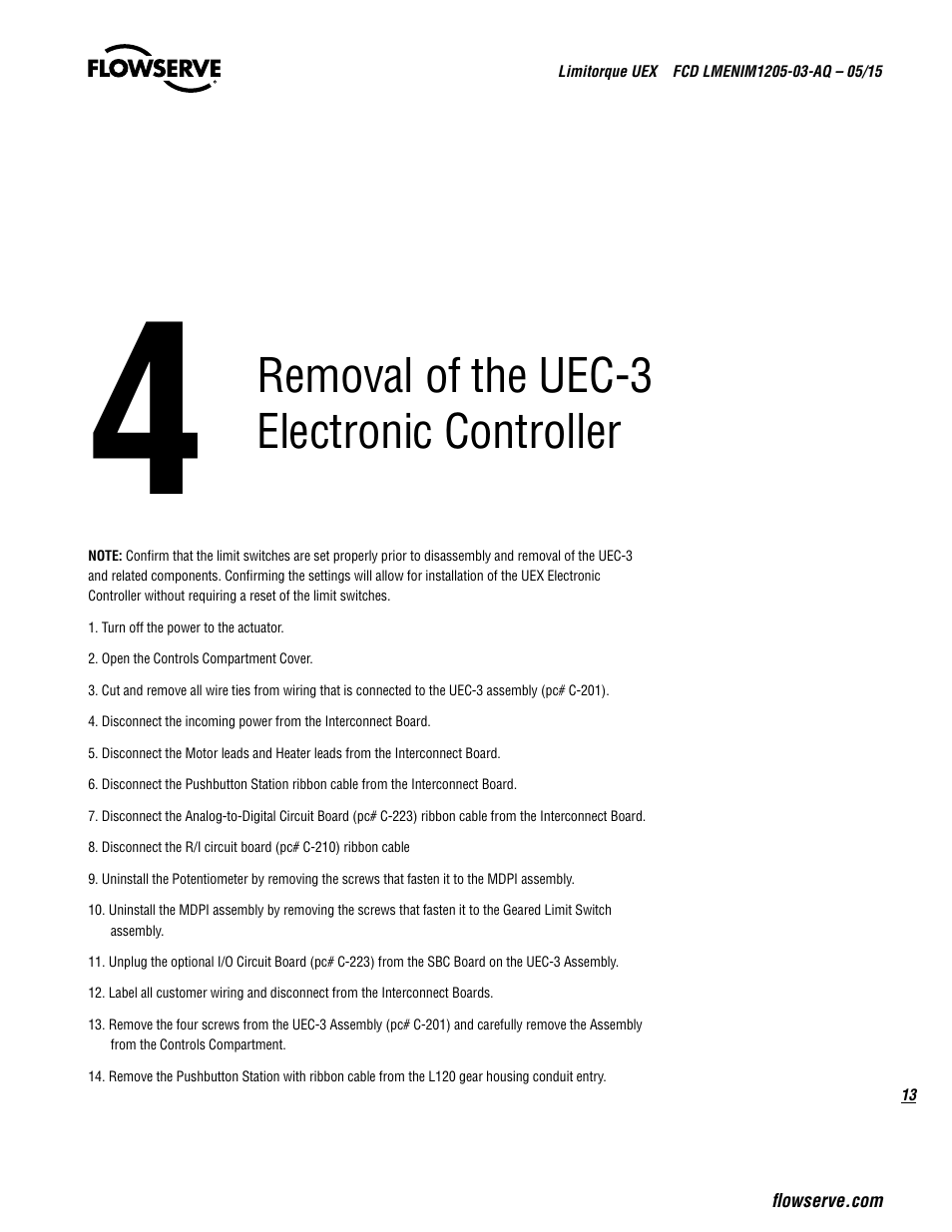 Removal Of The Uec 3 Electronic Controller Flowserve Uex Limitorque L120 Wiring Schematic User Manual Page 13 56