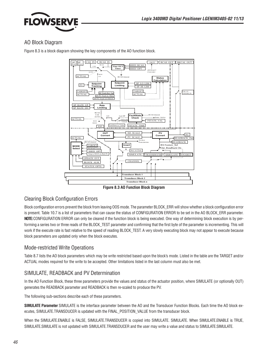 Ao Block Diagram Clearing Configuration Errors Mode Key Restricted Write Operations Flowserve 400md Logix User Manual Page 46 106