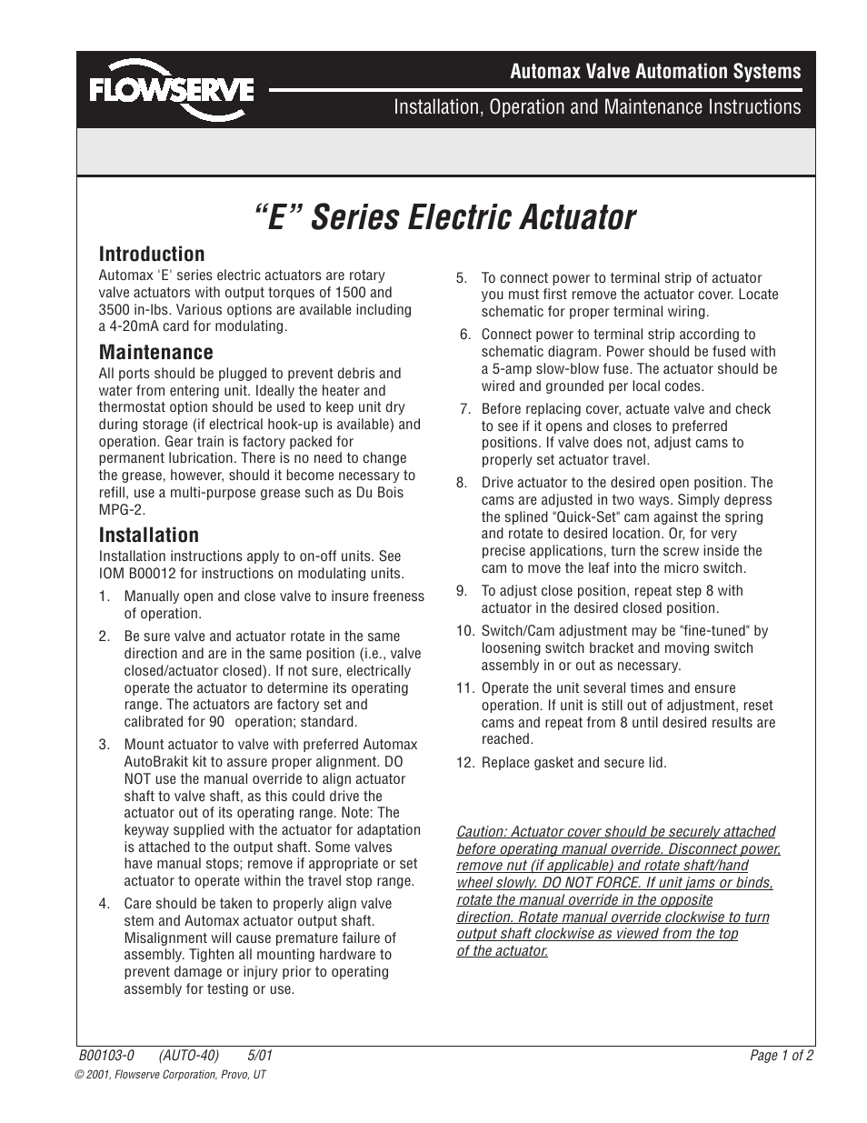 Flowserve E Series Electric Actuator User Manual 2 Pages Wiring Diagram